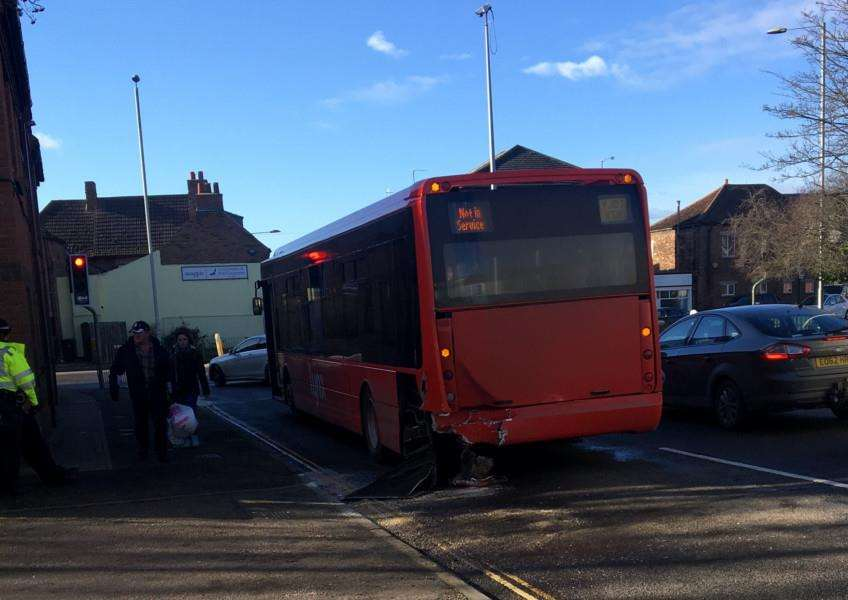 Crash involving a bus and a car on Littleport Street in King's Lynn.