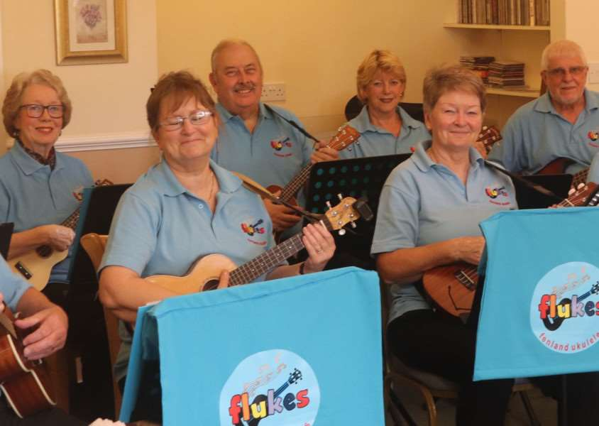 Flukes (Fenland Ukeleles) performing at Ashville House Residential Home in Downham. Photo: SUBMITTED.