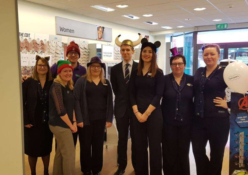 The team from Specsavers in Norfolk Street who took part in Wear A Hat Day.
