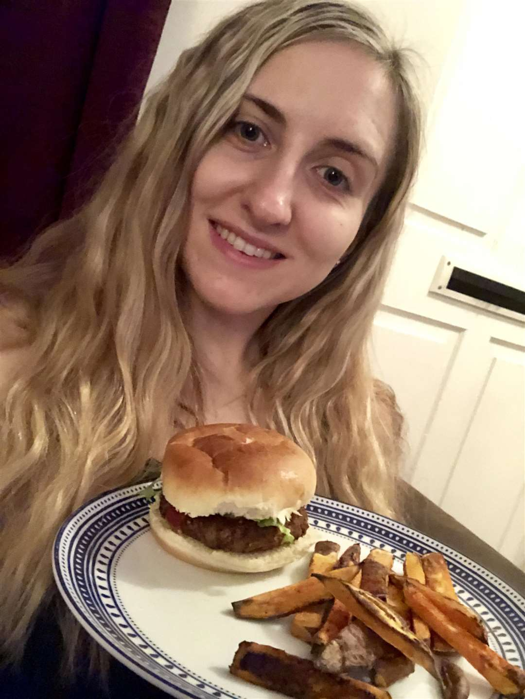 Veggie feature - reporter Rebekah Chilvers with a burger made from Joe Wicks' Veggie Lean In 15 book. (6355762)