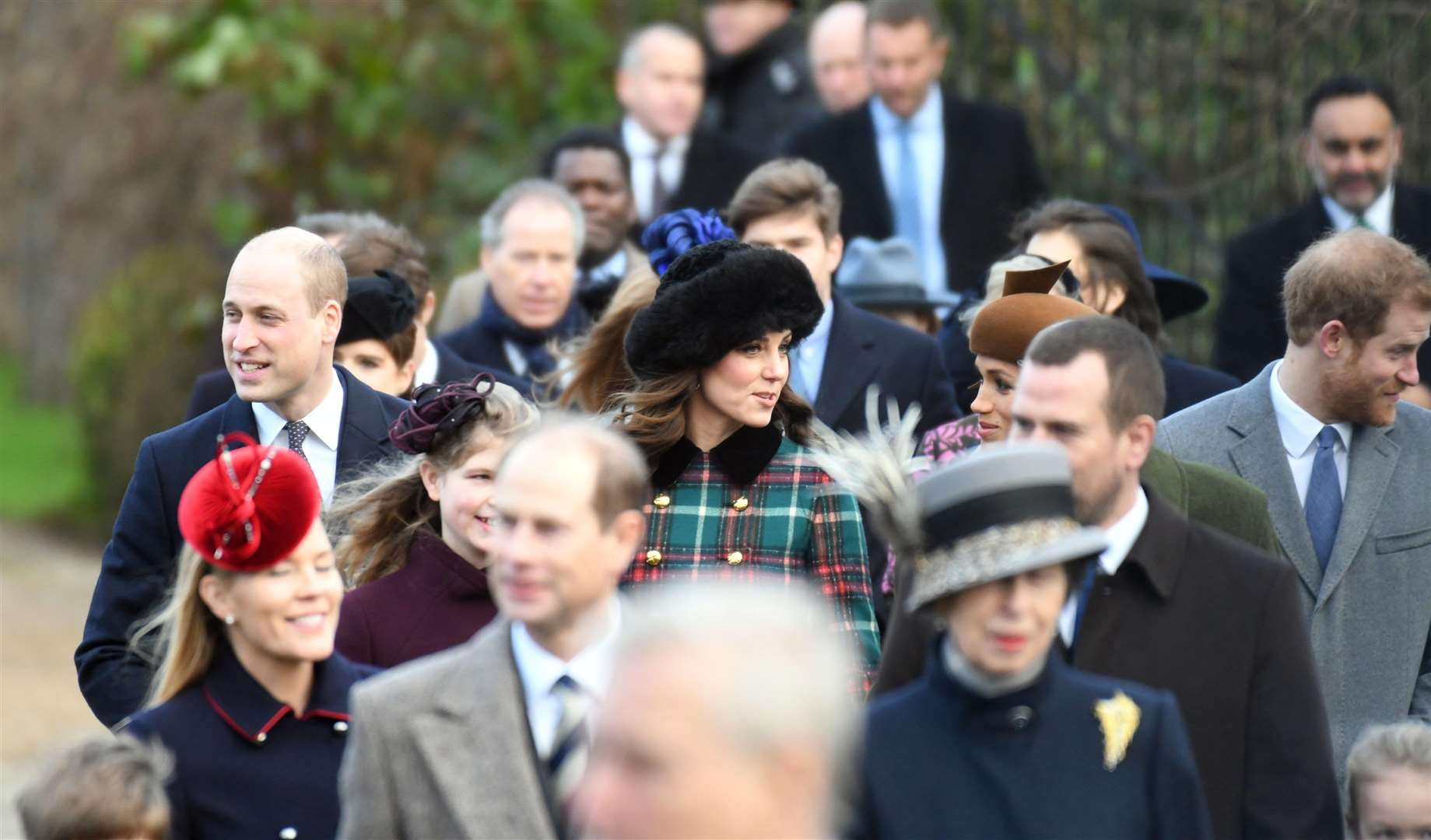 Members of the Royal Family at Sandringham for the Christmas Day service in 2017.