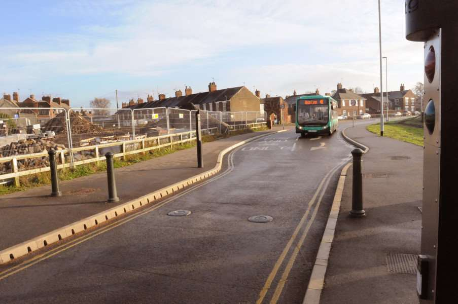 Bus Route Hardings Way bollards left in the down position.'(The Boal Quay Entrance)