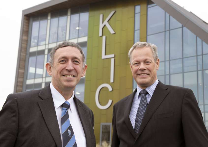 KLIC King's Lynn. The Deputy Agent for the Bank of England Tim Pike (left) with Paul Gardner (right)
