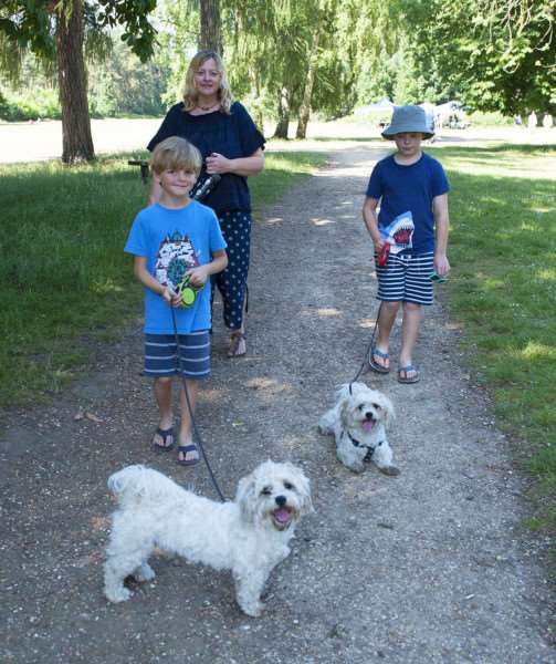 RSPCA Sponsored Dog Walk Sandringham.Pictured Emily Todd with Oscar Todd. Ruben Todd walking their dogs.