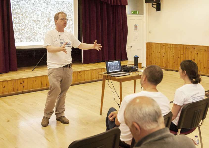 RSPB Appeal Launch at Snettisham Village Hall. Pictured FLtoR Steve Roland. ( Public Affairs Manager) Addrtess audiance
