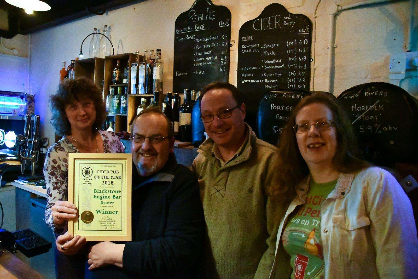 Ian and Lesley Pinches receive the West Norfolk CAMRA Cider Pub of the Year award. Picture: SUBMITTED (1939154)