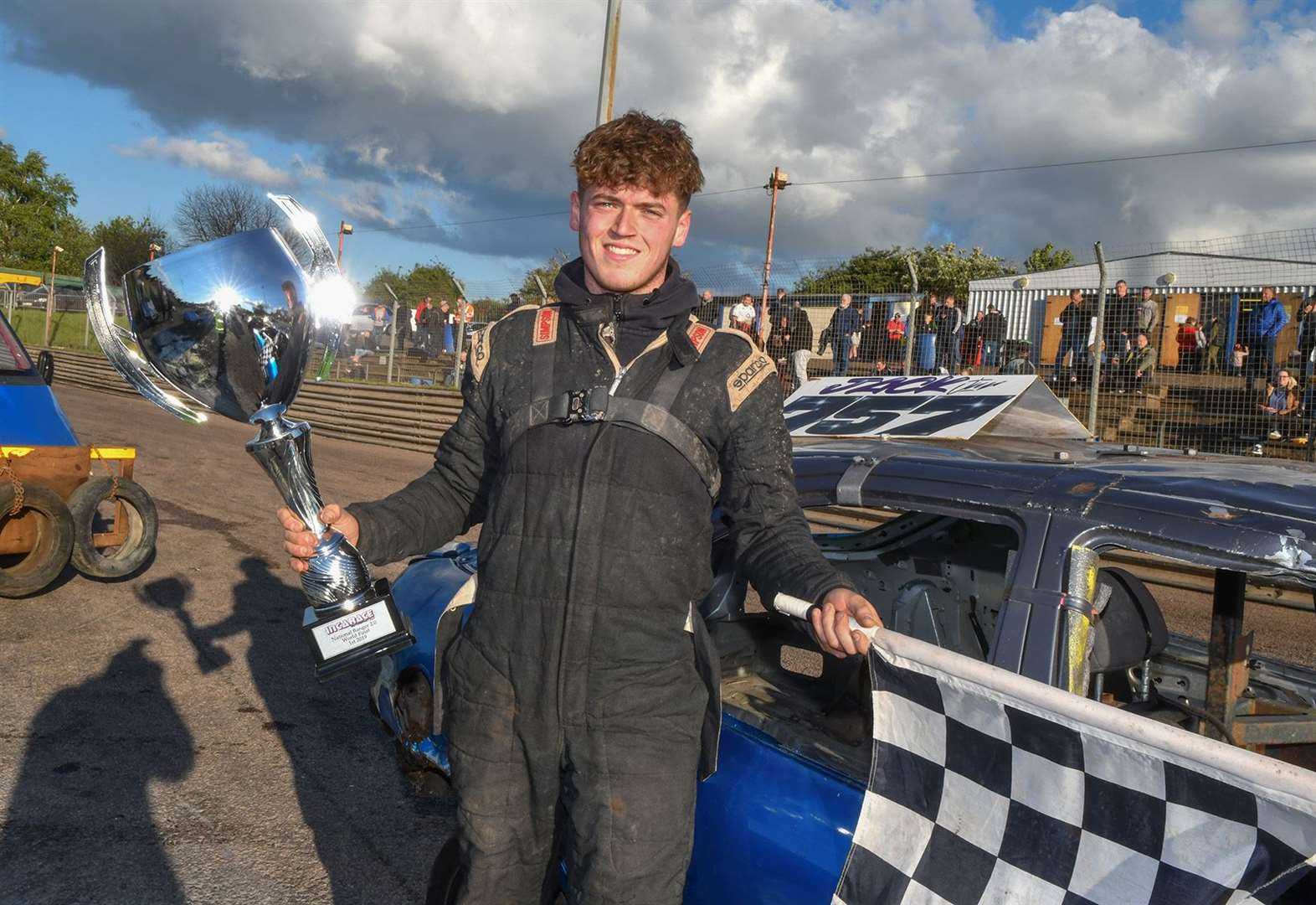 West Norfolk driver Callum Gill is on top of the world after borrowing car in final