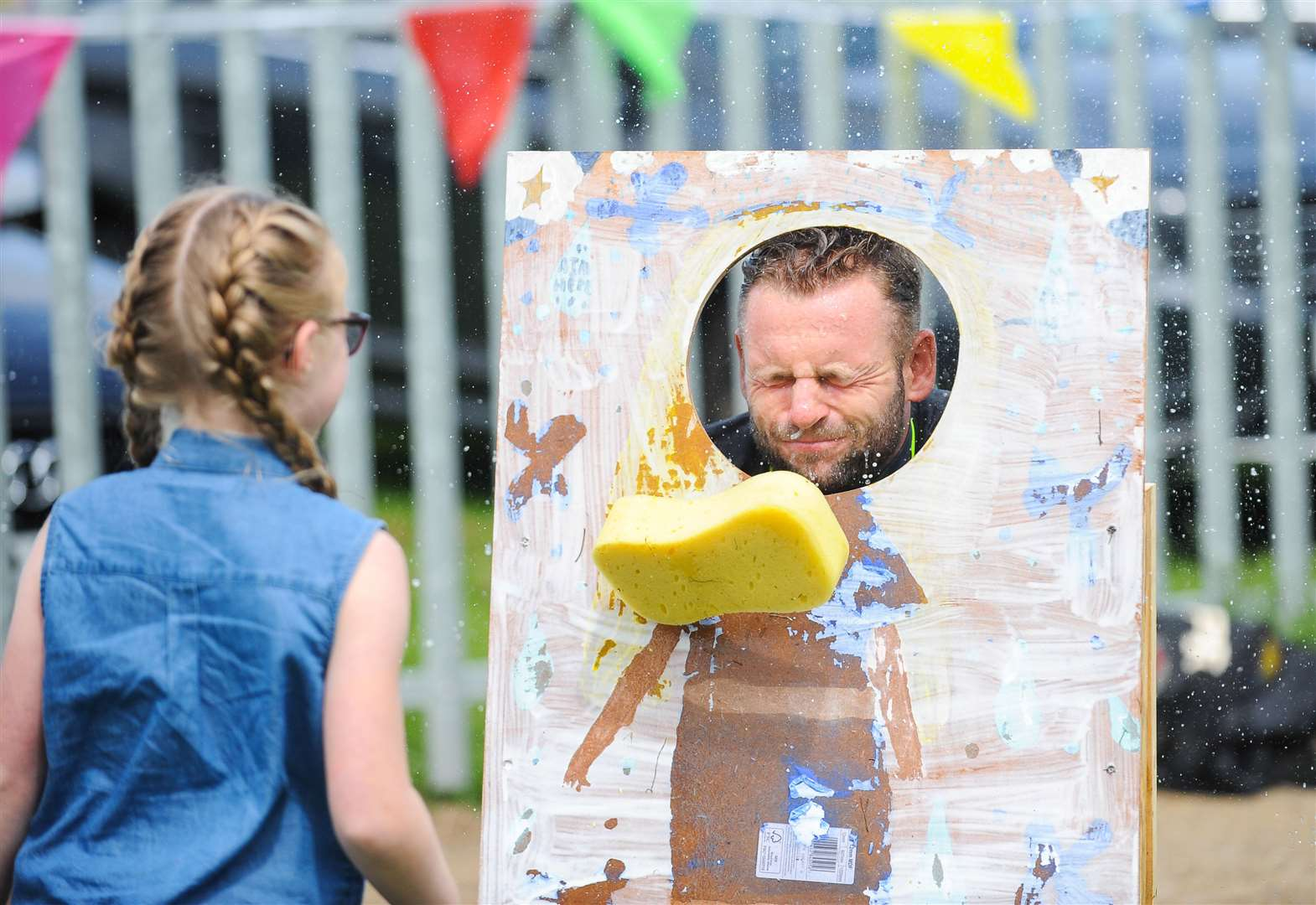 Splat the teacher! At Reffley Academy summer fair