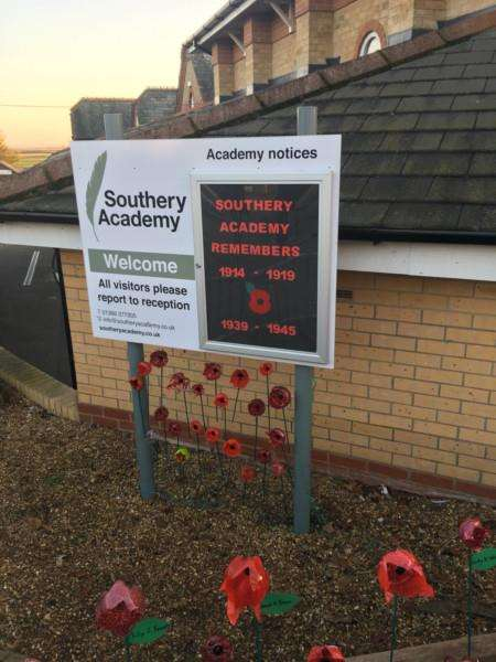 Southery Academy's remembrance display. Photo: SUBMITTED.