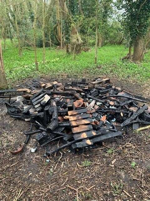 This was what was left of the bug hotel at Wootton Park following an arson attack during the Easter weekend (45880836)