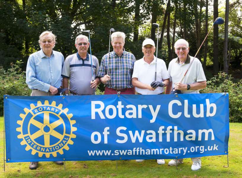 Swaffham Rotary Club Charity Golf Day. Pictured SSAFA Team FltoR Neil Broughton. Ian Buttha. James Bagge ( High Sheriff) John Ebbage. George Bell.