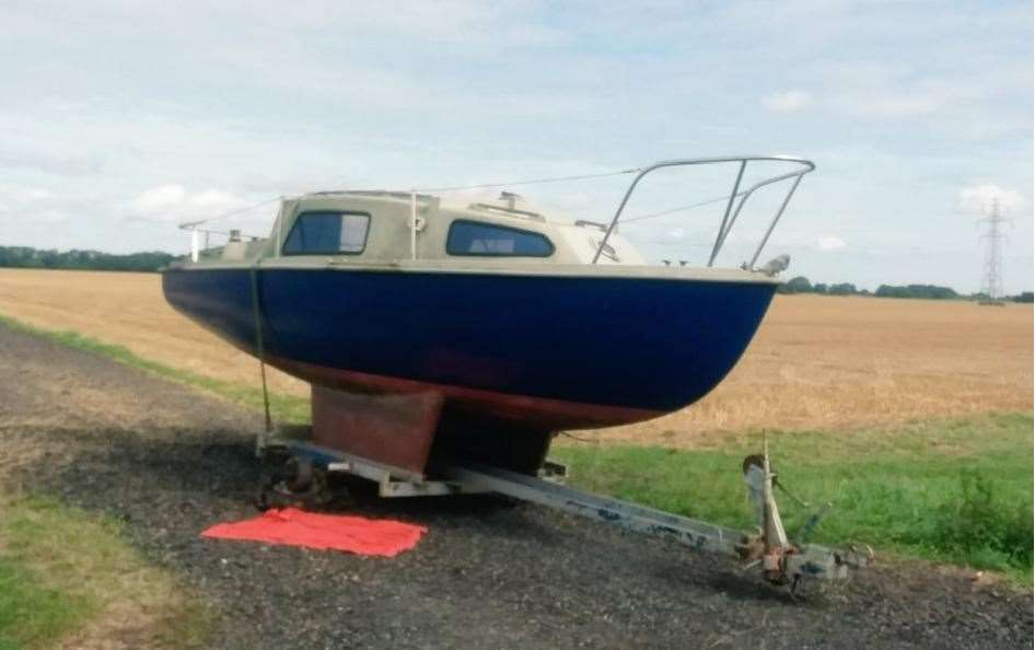 This boat and trailer was found in Wildfields Road, Clenchwarton