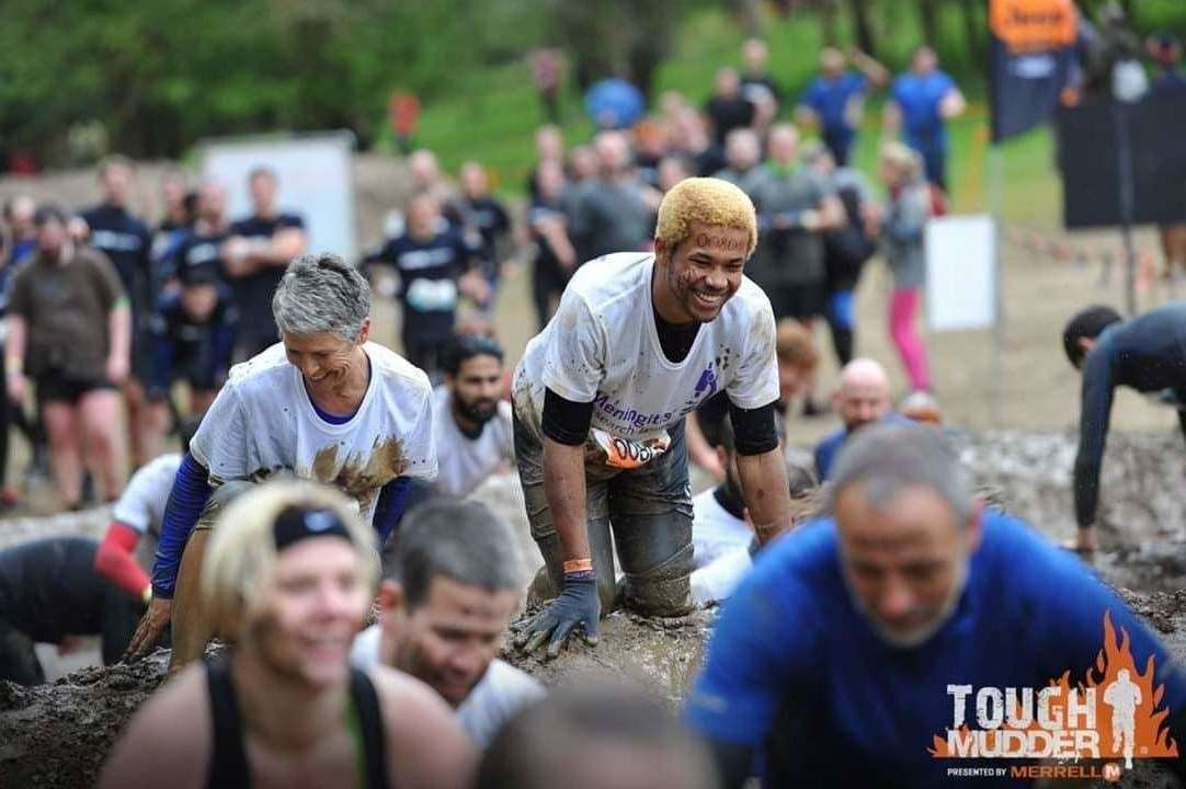 Kieren Kershaw, from Lynn, taking part in a Tough Mudder for Meningitis Research Foundation. Picture: SUBMITTED. (8688867)