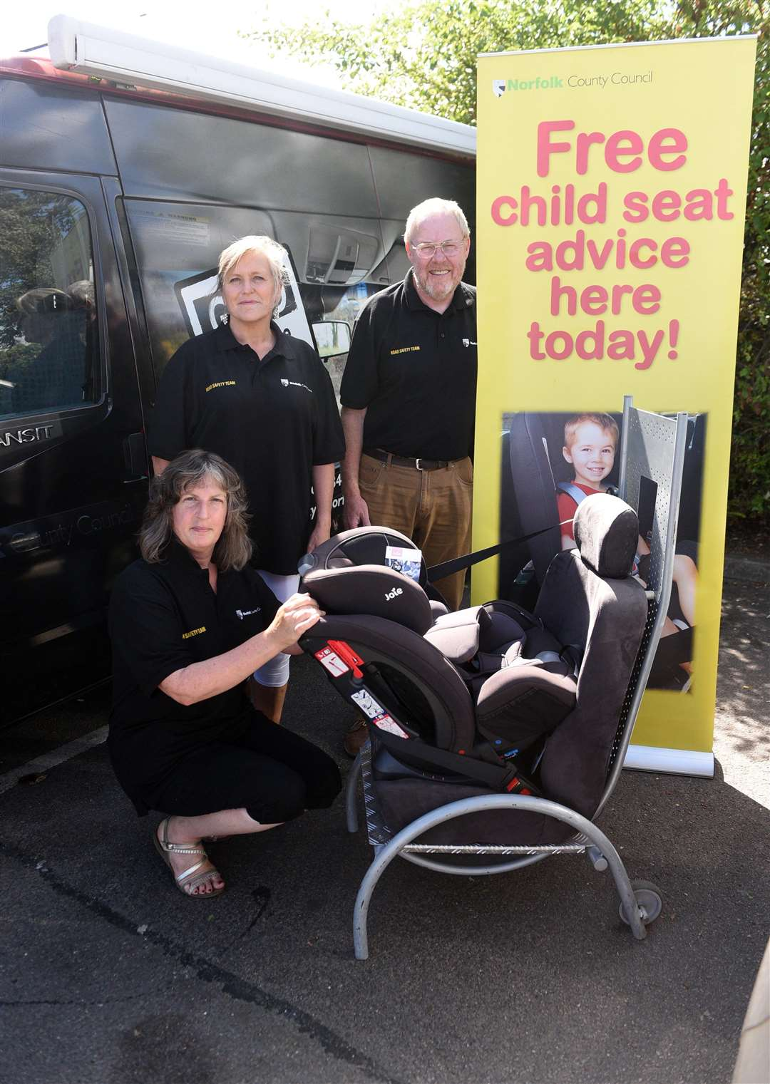 Norfolk Road Safety team outside Downham Market Tesco's to check on child seats.....left to right Catherine Leigh, Tracey Lingfield and Sandy Reid. (3519208)