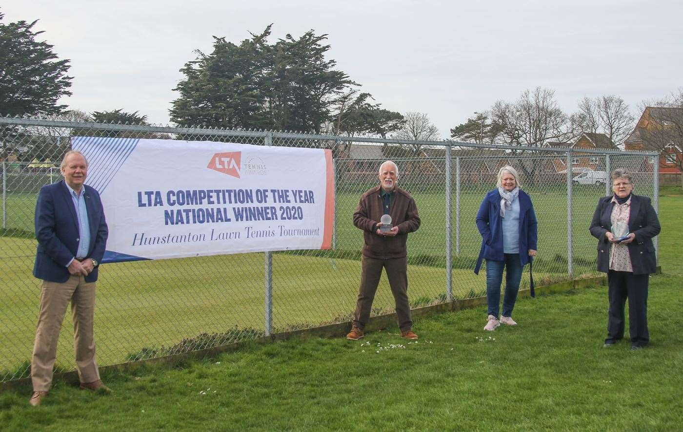 Pictured above is Chris Holt (second from left) and Janice Campbell (right), treasurer, Hunstanton Lawn Tennis Tournament, with the Lawn Tennis Association (LTA) trophies. Looking on are LTA president David Rawlinson and Heather Bottomley, LTA councillor for Norfolk. (46182800)