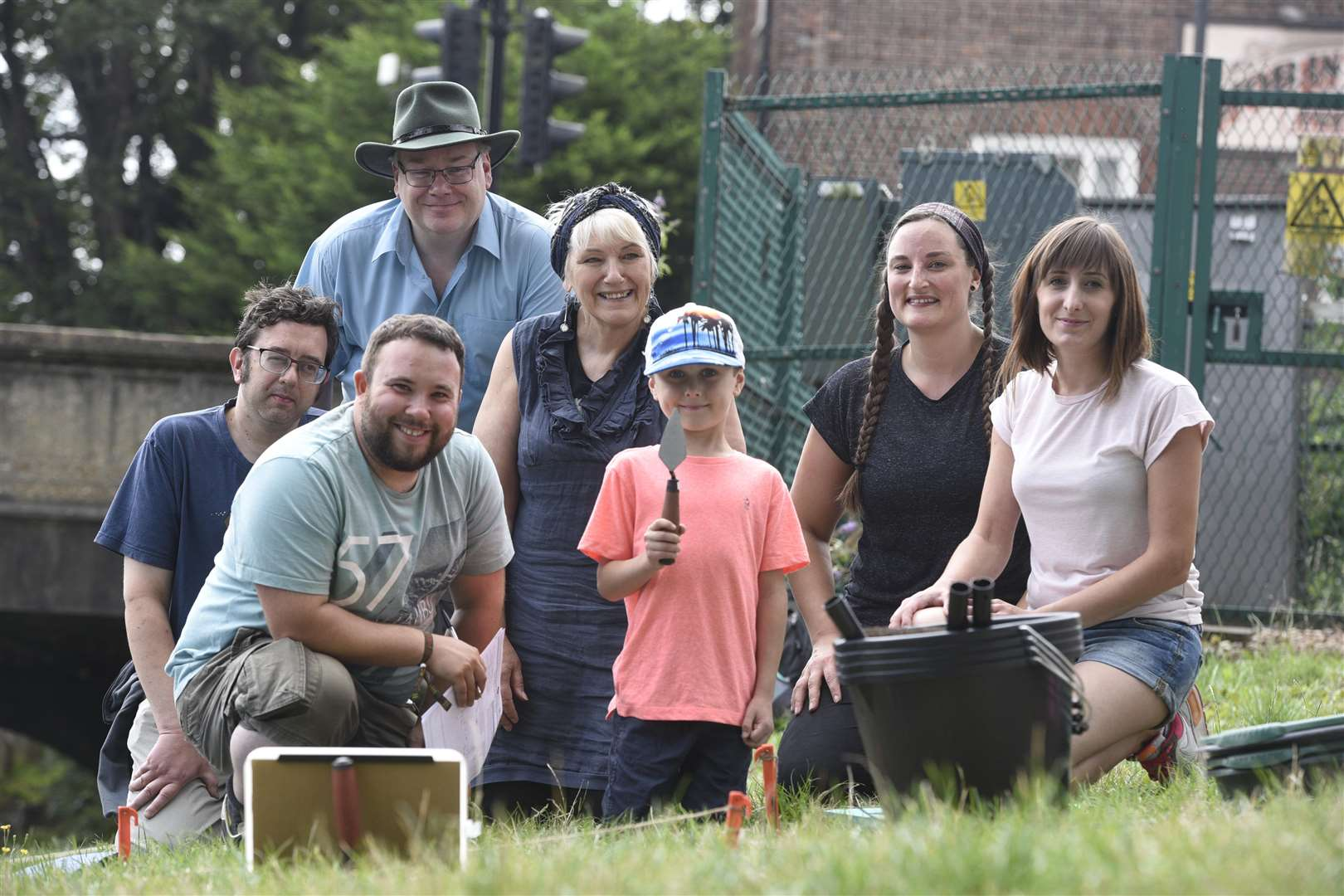 Mini Time Team excavations....left to right back David Hinkins, Dr Clive Bond, Sue Knight, Becky Knight ....left to right front Daniel Sharman, Charlie Houchen, and Gemma Houchen. (3437749)