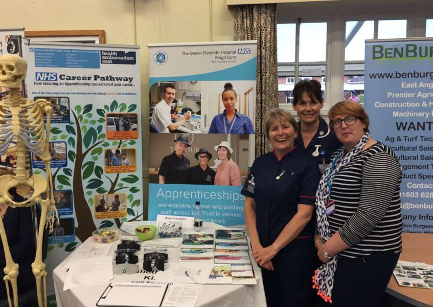 King's Lynn Queen Elizabeth Hospital's career clinic. From left, Practice Development Nurse Julia Saunders, Recruitment and Retention Sister Debbie Frost and Widening Participation Facilitator Andrea James. Photo supplied.