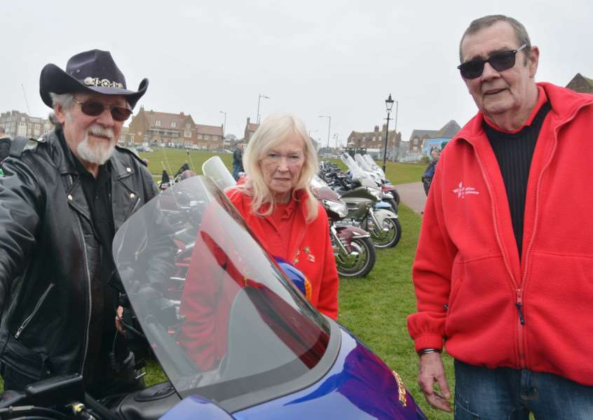 Gold Wings regional organiser, Roy Penn (left), and Molly and David Webb pause in their efforts to raise money for the East Anglian Air Ambulance during the annual gathering in Hunstanton