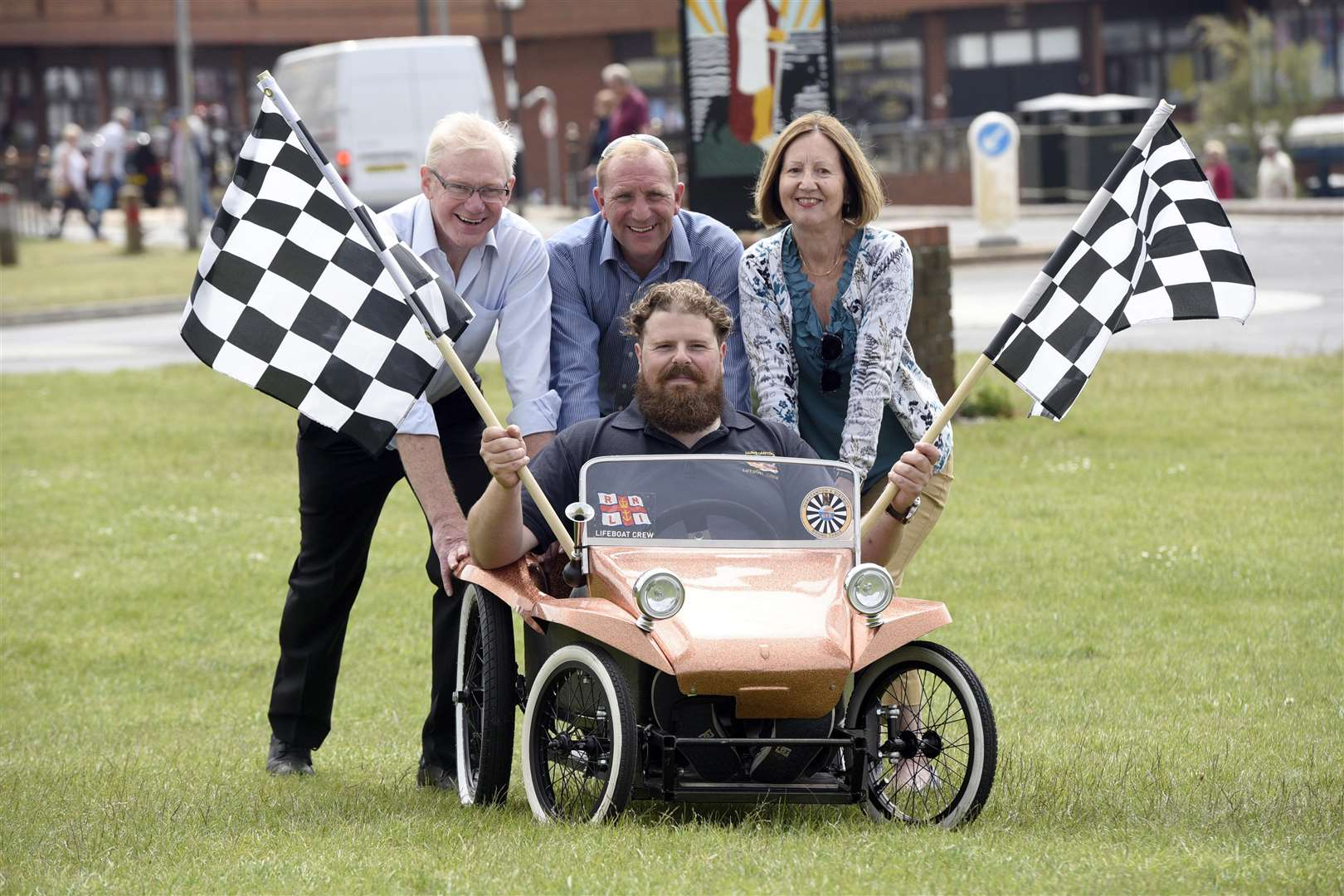 Launch of Hunstanton Soap Box Derby left to right back Roger Partridge, Chris Durham, Cllr Elizabeth Nockolds and front Ed Napolitano, winner of last year's race (2421139)