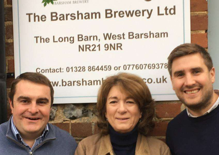 Barsham Brewery. Pictured, from left, are operations manager Rob Howlett, Susanna Soames and sales manager Rob Browne.