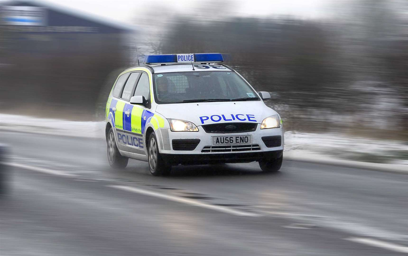 Stock picture of a Norfolk Constabulary police car driving to an incident.. (43075555)