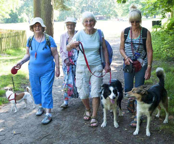 RSPCA Sponsored Dog Walk Sandringham.Pictured on the dog walk FLtoR Gill Hercomb.. Irene Rogers. Deborah Barnage. Jan Levemore.