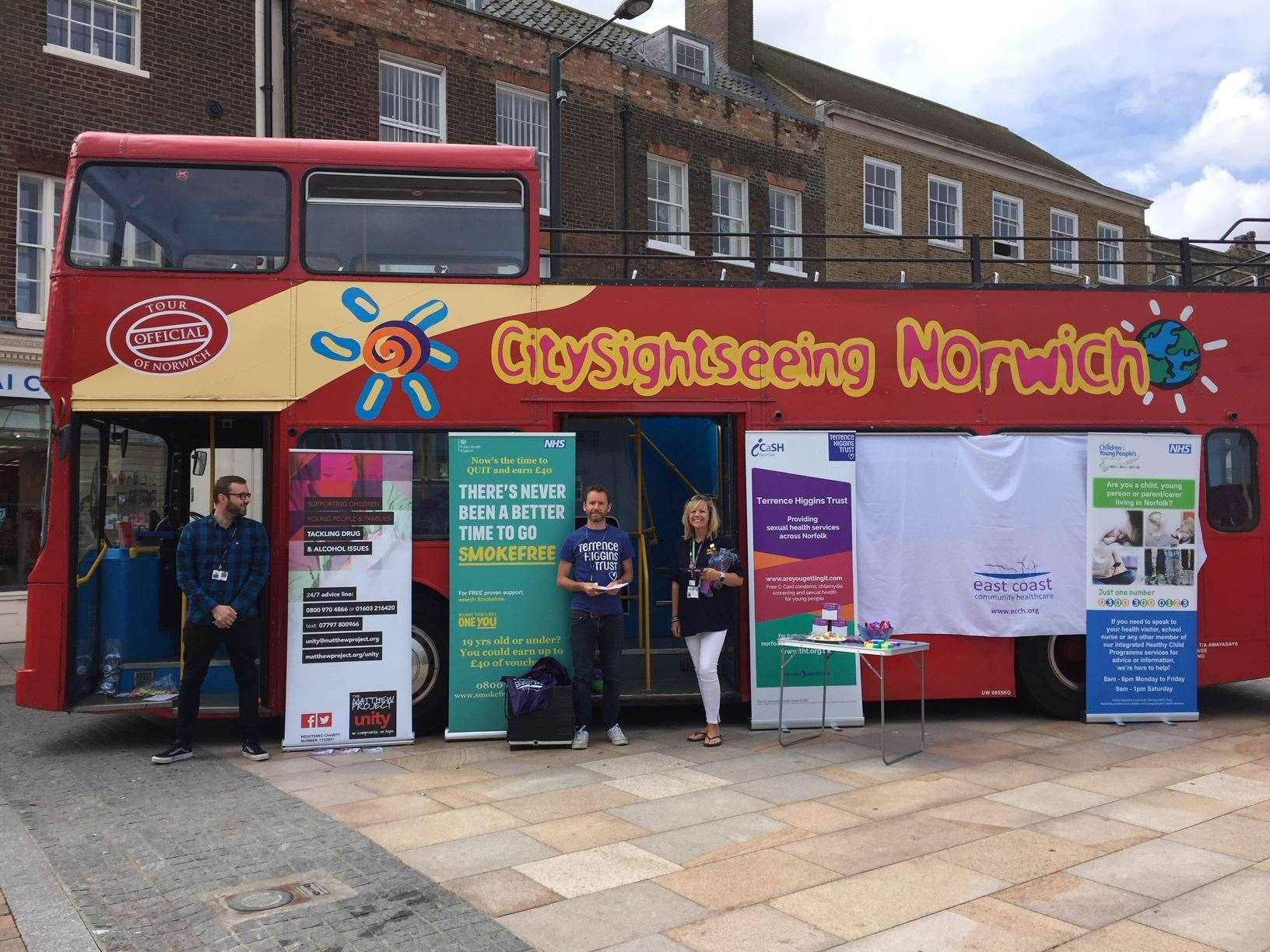 The red double decker in Lynn town centre promoting healthy lifestyle choices (15105414)