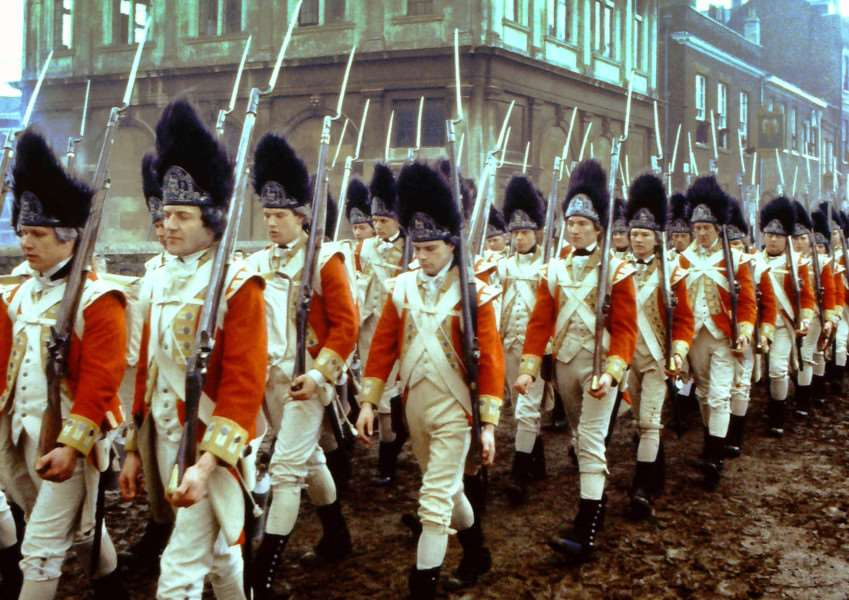 Film Revolution Filmed in King's Lynn 1985'Scenes of Soldiers marching across the bridge in King Street with the Custom House as a backdrop