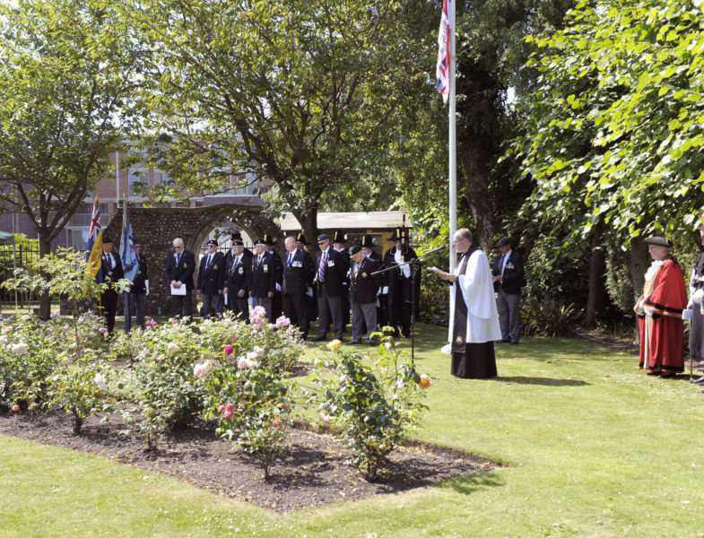 Raising of The Armed Forces Day Flag in Tower Gardens, King's Lynn, Ceremony led by Borough Mayor Cllr Carol Bower 'Fr Adrian Ling (Mayor's Chaplin)