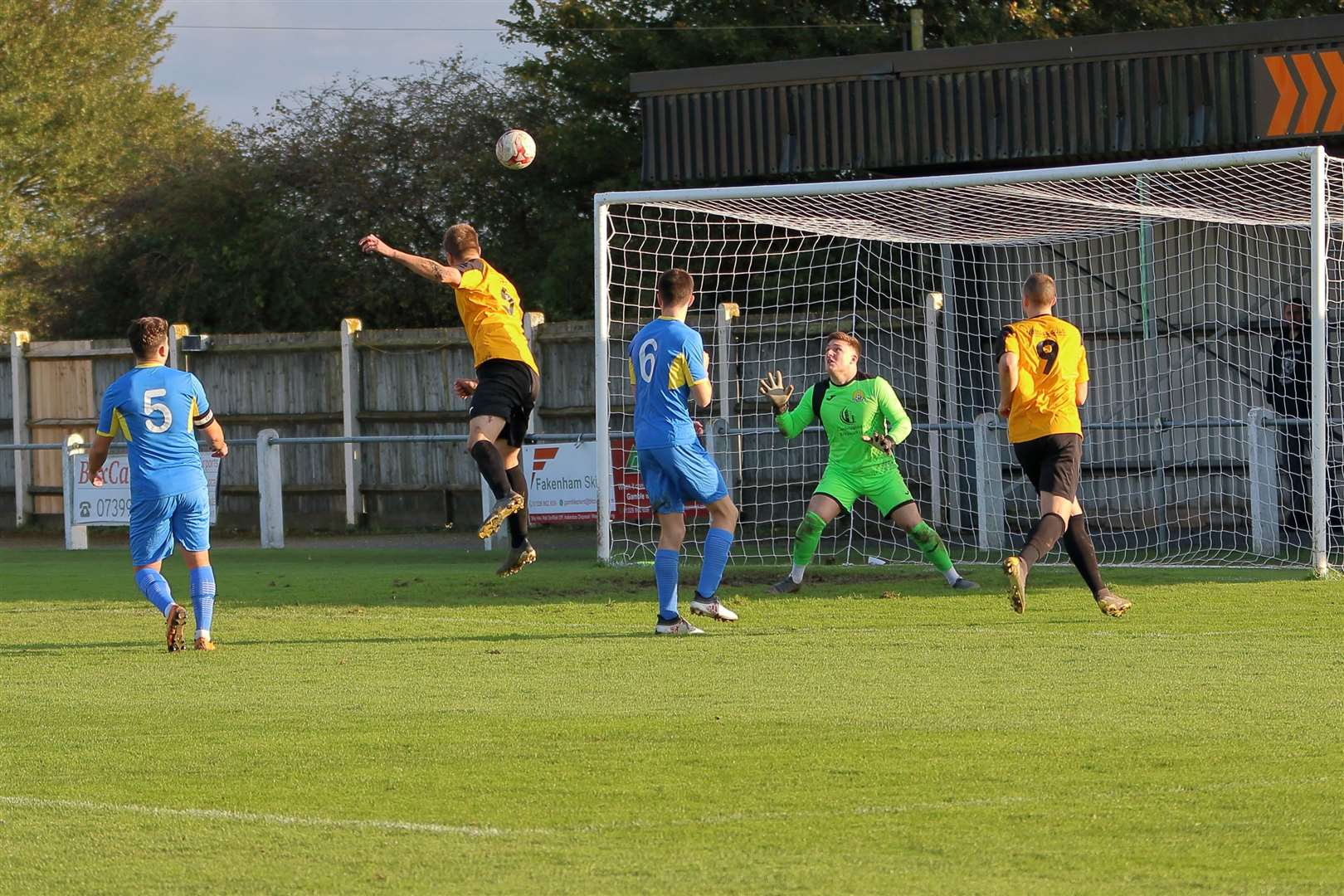 Fakenham's Josh Youngs scoring the winner with a great header in their 2-1 win over March on Saturday. (19798484)