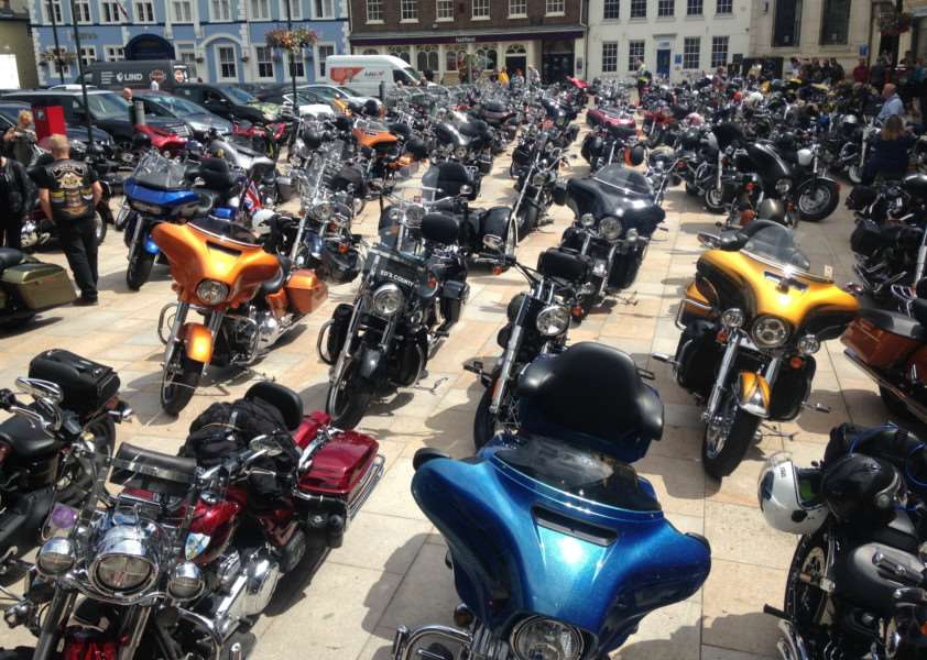 Harley-Davidsons at Tuesday Market Place