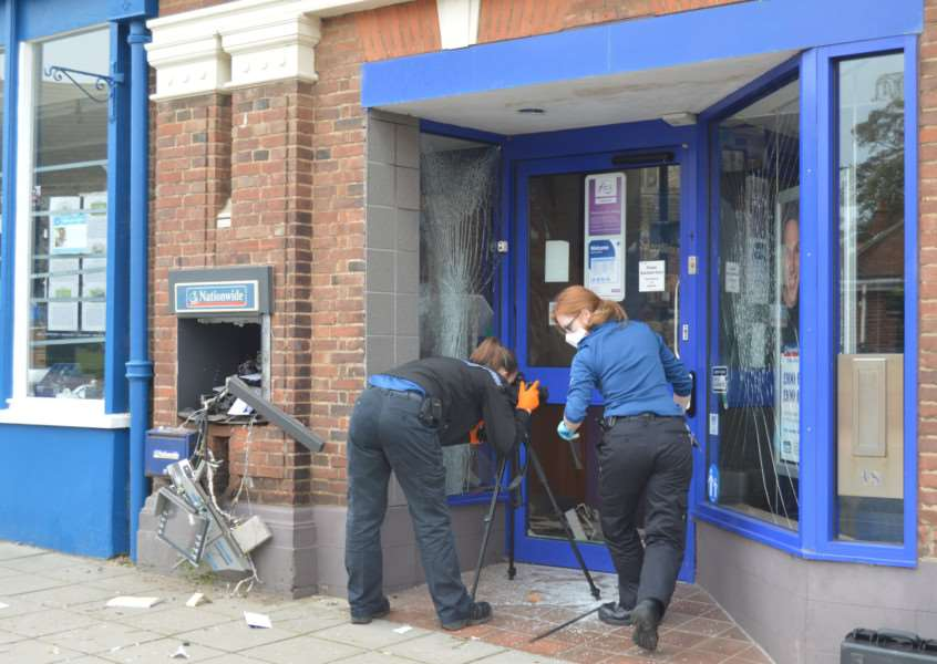 Police investigate a raid on the Nationwide building society in Greevegate, Hunstanton