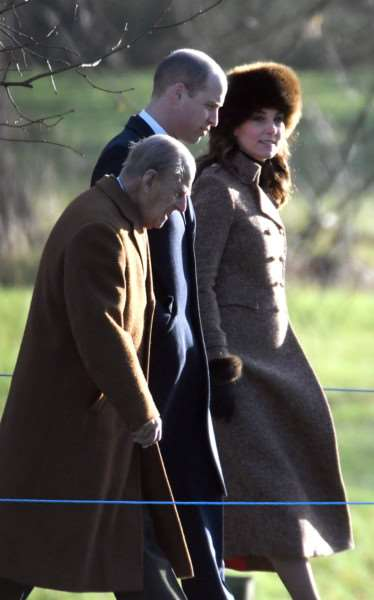 Royals attending church service at Sandringham'Prince William, Duchess of Cambridge and Duke of Edinburgh