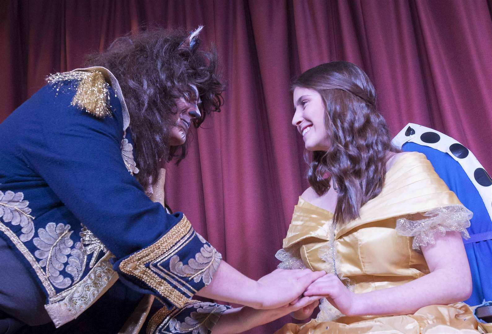 "Pocohontas Players Heacham Pantomine ""Beauty & The Beast"". Pictured Principals Tom Whybrow (The Beast) Kelsie Hall (Belle). (6537338)"