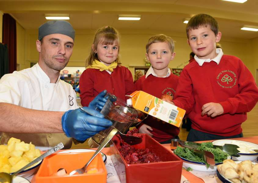Food and Nutrition event at Cherry Tree Academy at Marham Infants''Lee Coomber with Year 1 pupils