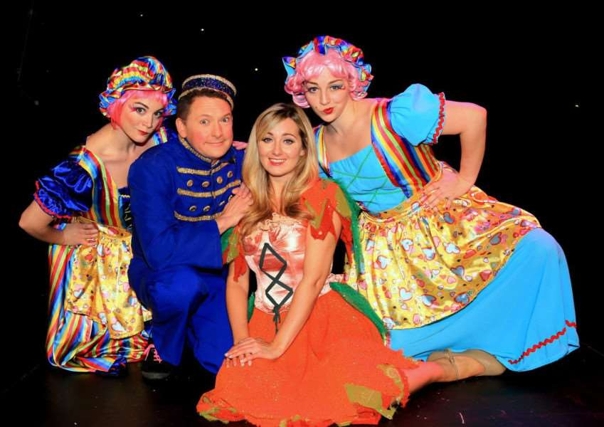 Princess Theatre Cinderella Panto launch at Hunstanton 'LtoR, Helen Farrell (Cinderella), Andy Eastwood (Buttons), Elise Whyte (Ugly Sister), Seren Whyte (Ugly Sister)