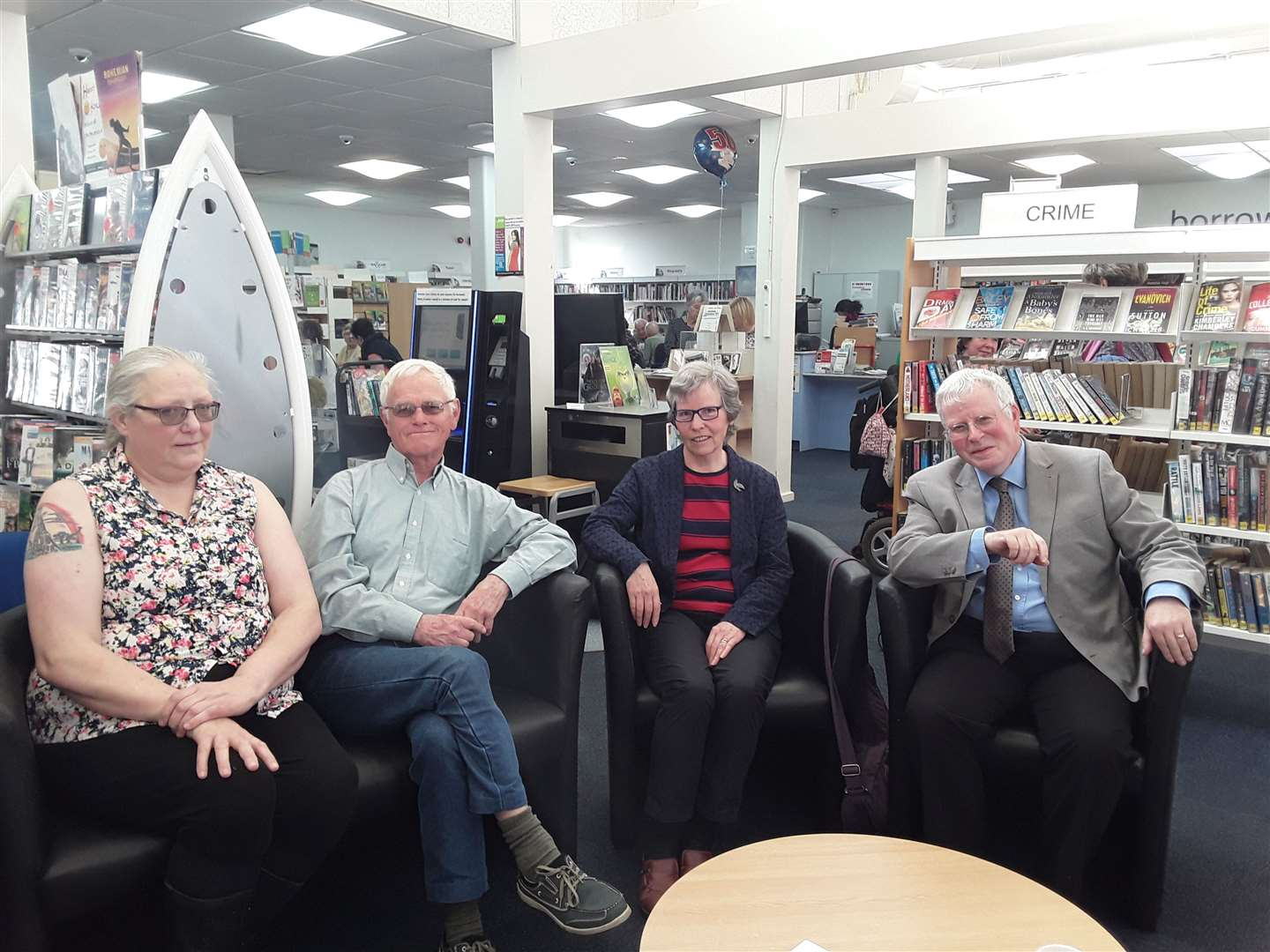 From L-R: Sandra Grant and David Thomas (both long serving users), Ann Keeble (retired Library Manager) and Alan Leventhall (retired Community Librarian). (9094239)