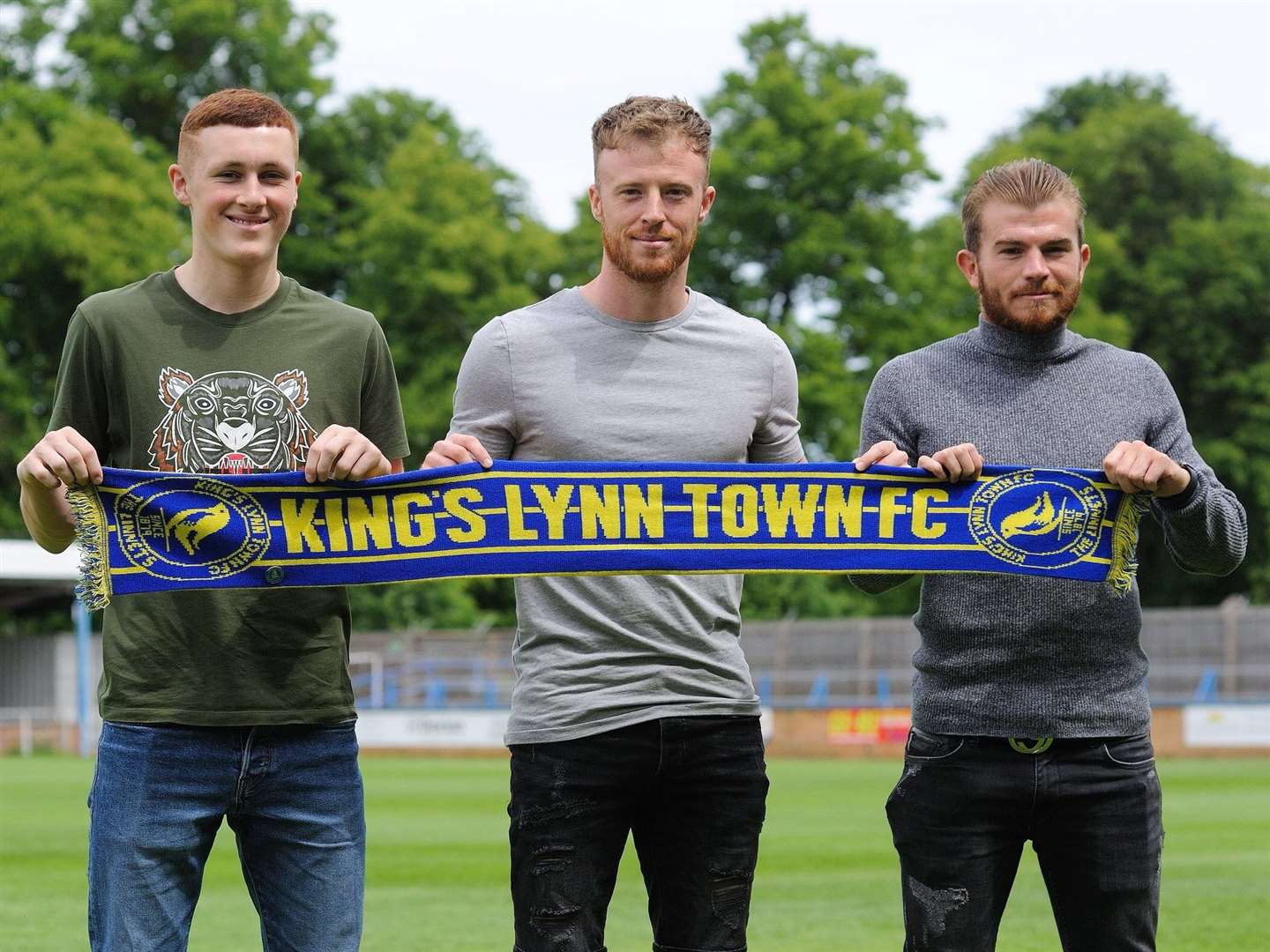 Pictured at the Walks this morning, from left, are new Linnets signings Sonny Carey, Sam Kelly and Nathan Fox. Picture: Tim Smith. (11563170)