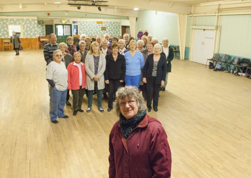 Gaywood Community Centre Renovation work starts with new roof and it's interior. Pictured in front Campainer for the renovation Denise Mansell with Dancing Group using the hall.