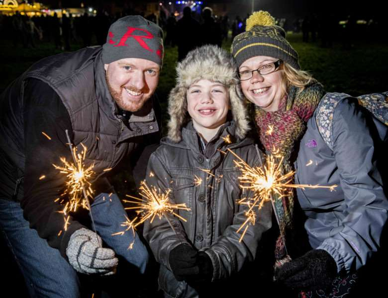 "Scenes from the Fawkes in The Walks 2017 firework display in King�""s Lynn - From left, Ed Scholes, Sam Connolly (7) and Verity Connolly."