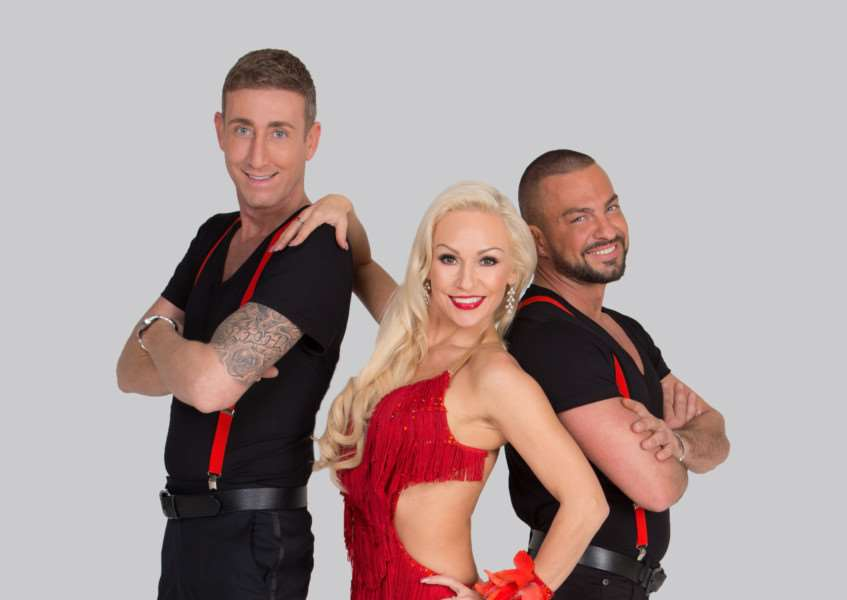 Kristina Rhinaoff with Christopher Maloney (left) and Robin Windsor in Dance To The Music.