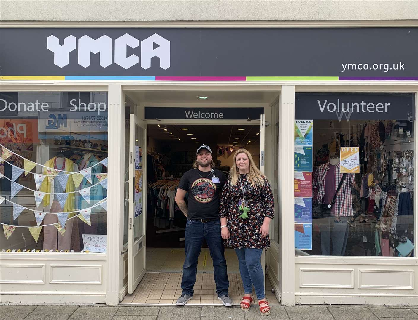 YMCA charity shop in King's Lynn reopens after the coronavirus lockdown. Pictured are assistant manager Ed Pitkin and manager Donna Hewish.(39024310)