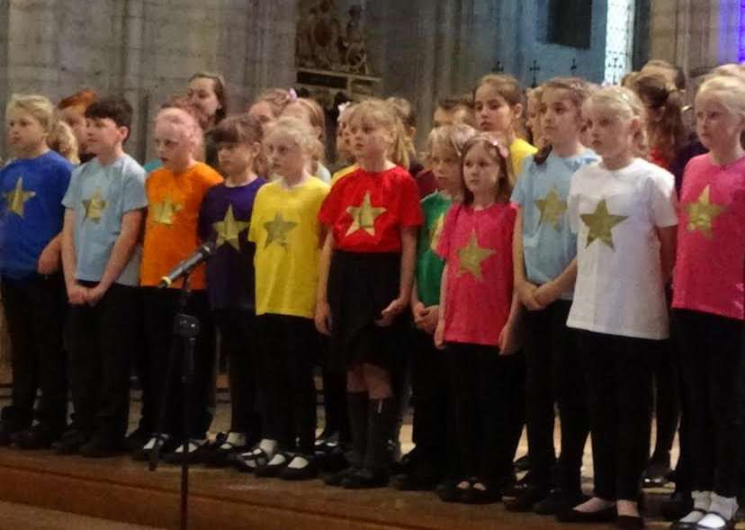 Youngsters from Tilney All Saints and Anthony Curton primary schools performing at Ely Cathedral