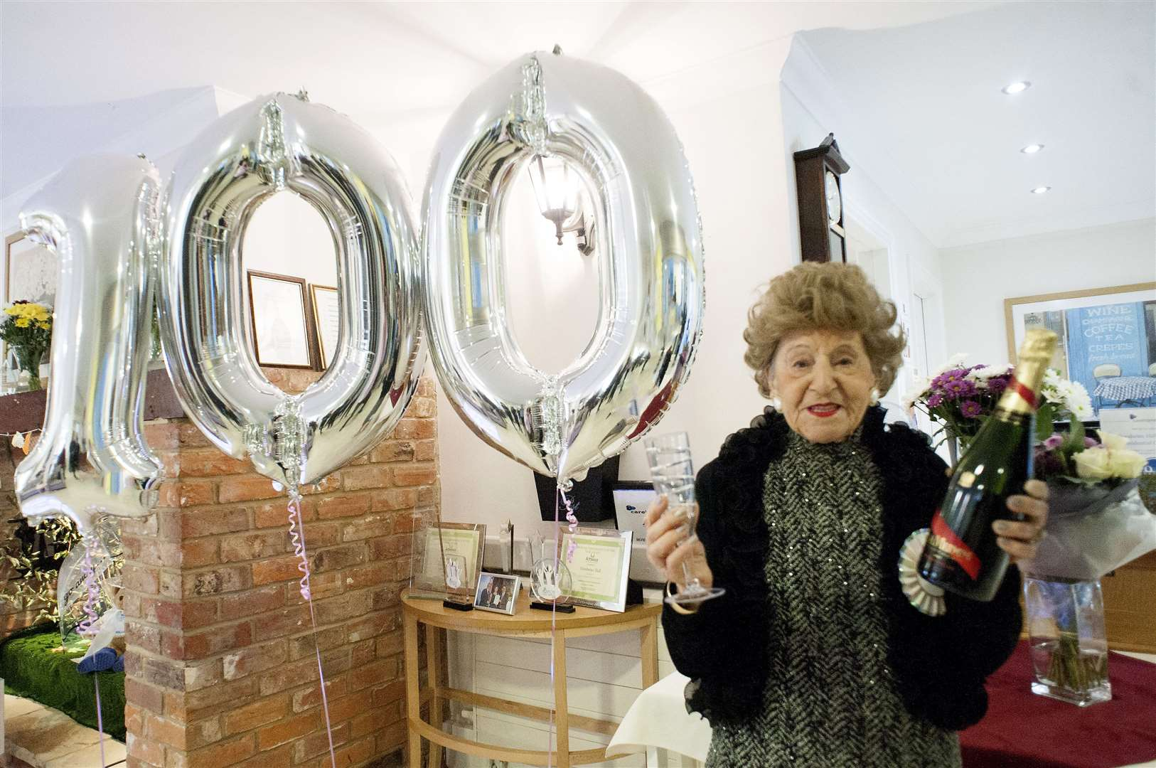 100th Birthday for Joan Phillips, a resident at Goodwins Hall Care Home in King's Lynn