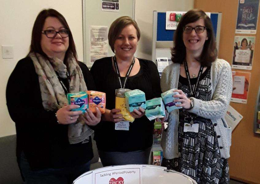 Downham library staff Kim Martin, Fran Valentine and Katy Marriott at the Tricky Period donation point.