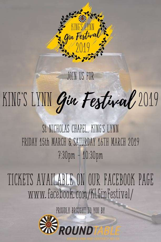 King's Lynn and District Round Table 54 are holding King's Lynn Gin Festival at St Nicholas' Chapel on Friday 15 March and Saturday 16 March. Picture: SUBMITTED. (7797347)