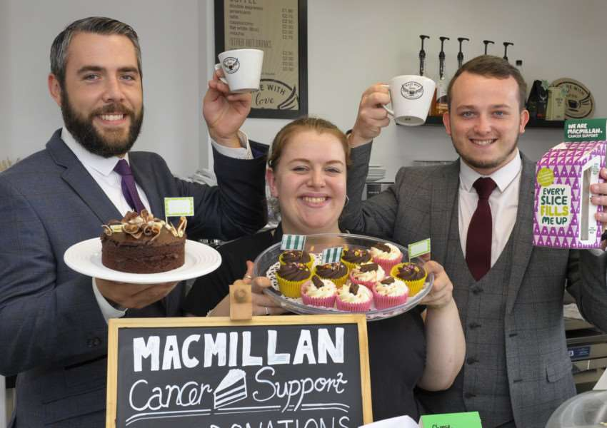 Macmillan Coffee Morning at Goddards of King's Lynn,'Raising funds LtoR, Jono Wilson (Assistant Manager), Liz Wolf (Barista), Arran Hain (Sales Advisor)