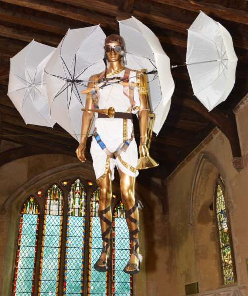 HARPLEY CHURCH ANGEL FESTIVAL'Local artist, Tom Sharp, made a punk angel that towered over the visitors