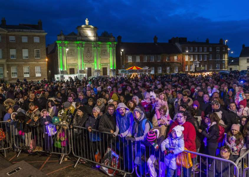 "Scenes from the King�""s Lynn Chirstman Lights Switch On 2017 - The crowd in the Tuesday Market Place."