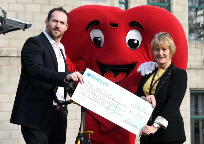 Cheque Presentation from Alive Leisure to BHF Mark Mitchell and Karen Samain